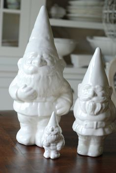 gnomes!!!  when they sit outside too long, and get worn, spray paint them!!  timeless.