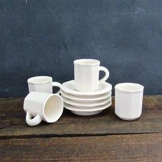 Set of 4 Pfaltzgraff Heritage White Flat Demitasse Expresso Cups and Saucers, Vintage Stoneware Demitasse, Farmhouse Decor