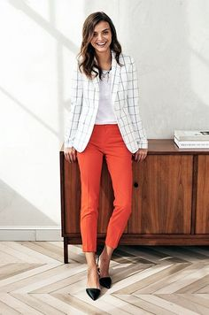 Spring calls for bright colored pants and a white window-panel blazer. This look will brighten any day at the office. Let Daily Dress Me help you find the perfect outfit for whatever the weather! dailydressme.com/