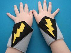 Lightening Bolt Superhero Cuffs by herflyinghorses on Etsy, via Etsy.