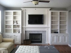 Wall of built-in shelving makes an unremarkable living room something wonderful