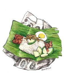 Nasi Lemak - One of Malaysia's signature dish. Have you guys tried this before? Food Poster Design, Food Design, Design Art, Singapore Art, Food Sketch, Indonesian Art, Nasi Lemak, Food Cartoon, Watercolor Food