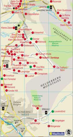 #Stellenbosch wine region map #southafrica #wineroute South Africa Map, Cape Town South Africa, Graceland, Wine Facts, South African Wine, Wine Guide, Holiday Activities, Bosch, Wine Recipes