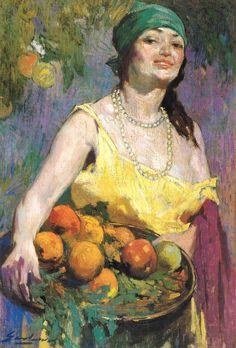 """""""Campesina con bandeja de frutas"""" Arturo Gordon. Oleo sobre tela (79x52,2) . El más relevante de los pintores de la """"Generación  del 13""""."""