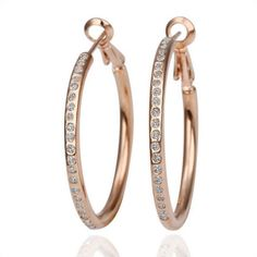 Smile_Jewelry Rose Gold Plated Big Hoop Earrings For Women Statement Crystal Earring Zirconia Jewelry Earings * Continue to the product at the image link. Note:It is Affiliate Link to Amazon.