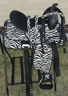 14 Youth Zebra Print Western Synthetic Show Trail Horse Saddle Tack w/ Hay Bag. I want this for grace!