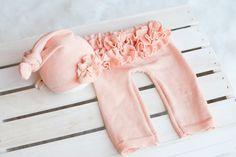 Pre- Order Upcycled Newborn Hat and Ruffle Bottom Pants, Newborn Prop,. $50.00, via Etsy.
