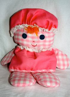 I have mine still from my childhood! Vintage Pink Checkered Holly Hobbie Floppy Raggedy Anne Baby Doll with Rattle Inside 90s Childhood, My Childhood Memories, Best Memories, Jouets Fisher Price, Baby's First Doll, Holly Hobbie, Pink Gingham, 80s Kids, Old Toys