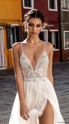 gali karten 2018 bridal spaghetti strap deep plunging sweetheart neckline heavily embellished bodice high slit skirt soft a line wedding dress open scoop back sweep train (5) zv