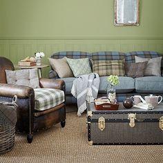 Moss Grün und Blau ein ländliches Wohnzimmer