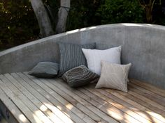 Concrete and wood slat outdoor sofa