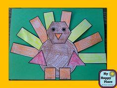 Shape Turkey Craftivity Common Core Aligned for Kindergarten $
