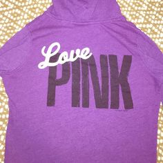 purple PINK hoodie -perfect shape -purple hoodie -slight v neck -very comfortable size small (fits as a medium too)  PINK Victoria's Secret Sweaters