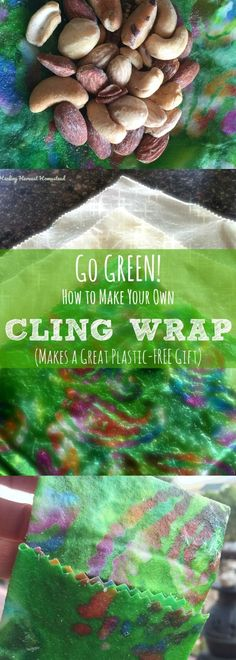 How to make your own plastic wrap to substitute for cling wrap and plastic bags. Make your own cling wrap and baggies! Many people are breaking up with plastic. I AM! The dangers to our health from plastic products, not to mention the environment, are very motivating reasons to get plastics out of your life. Here are easy steps to make your own reusable cling wrap/zip lock bags!!! It's a great project to do with kids too! PLUS! These make a lovely, caring gift for the greenie in your…