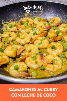 ¡Atrévete a cocinar estos camarones al curry saludablemente y con un sabor que no podrás resistirte! Sírvelos como comida o cena entre semana. Esta es una receta con combinaciones de sabor de la cocina hindú y fácil de preparar. Shrimp Recipes, Mexican Food Recipes, Coco Curry, Clean Eating, Healthy Eating, Cooking Recipes, Healthy Recipes, Cheat Meal, Seafood Dishes