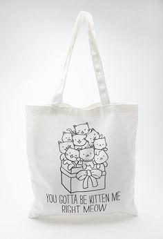 Kitten Canvas Tote Bag   FOREVER21 - 1000100443