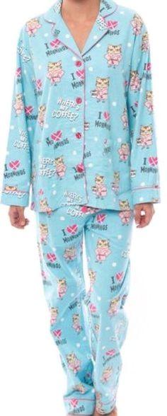 PJ Salvage Fantastic Flannels Pussy Cat Pajama Set Size M Aqua 5bd06ff6e