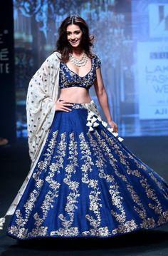 Disha patani art silk royal blue wedding lehenga choli for bride jayanti reddy, lakme fashion Bollywood Lehenga, Indian Lehenga, Indian Gowns, Indian Attire, Lehenga Choli, Bollywood Fashion, Indian Outfits, Anarkali, Sari