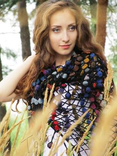 "Crochet shawl ""Spring drops"" (lace wrap, crochet grid, crochet wool shawl,  lace shawl)"