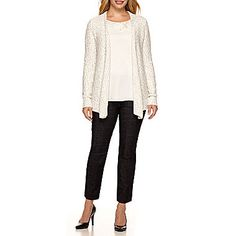 Liz Claiborne® Chunky Cardigan, Beaded-Neck Blouse or Ankle Jeans - Petite found at Outdoor Christmas Wreaths, Chunky Cardigan, Ankle Jeans, Liz Claiborne, Chic, Blouse, Sweaters, Color, Clothes