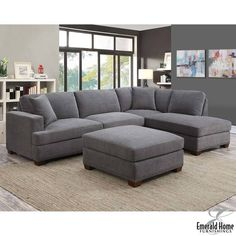 Kellen 3 Piece Grey Fabric Sectional Sofa with Ottoman and 2 Accent Pillows, Right-facing - House Ideas - Furniture Corner Sofa Living Room, Grey Corner Sofa, Living Room Grey, Home Living Room, Living Room Furniture, Living Room Decor, Fabric Sectional, Sectional Sofa, Couches