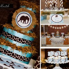 Host an adorable Safari baby shower for the mom to be! Using elephants for a fun jungle themed baby shower for an it's a boy shower. Printables and games. Mesas Para Baby Shower, Baby Shower Table, Boy Baby Shower Themes, Baby Shower Gender Reveal, Baby Shower Printables, Baby Shower Parties, Baby Shower Decorations, Baby Boy Shower, Safari Decorations