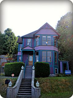"""purple and blue house   .......AS CHILDREN, BROTHER AND I WERE AFRAID TO GO UP THESE STAIRS, RING THE DOOR BELL, OPEN OUR SACK AND SAY.....""""TRICK OR TREAT"""""""