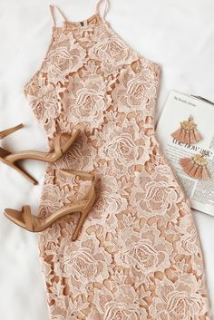 The Temps De L'Amour Blush Pink Lace Bodycon Midi Dress will put you in the mood for love! Crochet lace and a nude lining shape this bodycon midi dress. Blush Dresses, Pretty Dresses, Beautiful Dresses, Dresses Dresses, Dance Dresses, Casual Dresses, Short Dresses, Dress Outfits, Fashion Dresses
