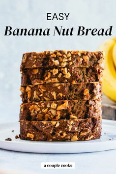 This classic banana nut bread is everything a banana bread should be: moist, warm spiced, and studded with crunchy toasted walnuts. | banana bread recipe | banana recipes | banana nut bread recipe | walnut recipes | breakfast ideas | brunch recipes | healthy snacks | healthy baking recipes | vegetarian recipes | dairy free recipes | #banana #nut #banananut #banananutbread #bananabread Banana Nut Bread Easy, Easy Zucchini Bread, Best Vegan Breakfast, Breakfast Ideas, Vegetarian Recipes Dairy Free, Yummy Snacks, Healthy Snacks, Walnut Recipes, Couple Cooking