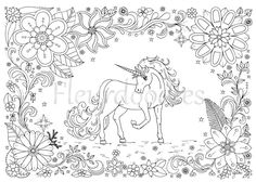 coloring page Unicorn horse instant download от Fleurdoodles --> For the top adult coloring books and supplies including watercolors, colored pencils, gel pens and drawing markers, visit our website at http://ColoringToolkit.com. Color... Relax... Chill.