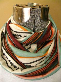 Jersey Knit Infinity Scarf Tribal Ethnic Print- aqua, black, cream, maroon, orange, pink,circle scarf, free shipping #handmade #etsymntt