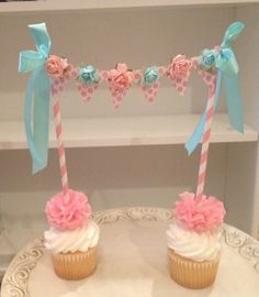 """#kimberlingray  Carly's First Birthday Cake Smash Idea: Shabby Chic Tea Party  Instead of a little cupcake bunting, do this with """"present"""" boxes wrapped in shabby chic paper and have it sitting over baby and her cake!"""