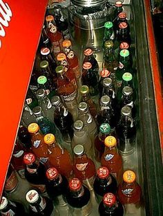 Remember reaching into a huge cooler the size of a chest freezer, and pulling out a drink that was dripping with ice cold water, popping the bottle cap off with the built in bottle opener at the country store?