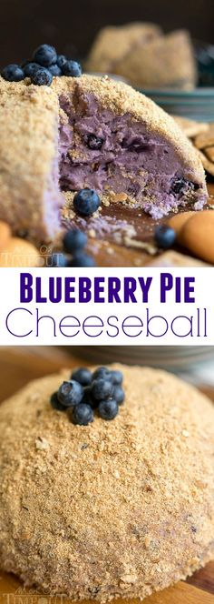 This Blueberry Pie Cheese Ball tastes just like a blueberry cheesecake and is the perfect appetizer or dessert for your next get together! Easy and… Dessert Cheese Ball, Dessert Dips, Cheese Ball Recipes, Snack Recipes, Dessert Recipes, Potato Recipes, Vegetable Recipes, Vegetarian Recipes, Dinner Recipes