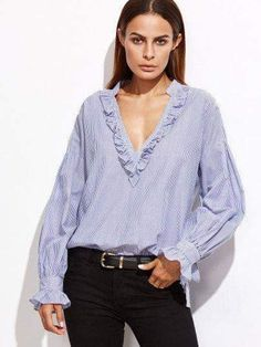 aa2deb85f55 Shop Blue Vertical Striped Deep V Neck Ruffle Blouse online. SheIn offers  Blue Vertical Striped Deep V Neck Ruffle Blouse   more to fit your  fashionable ...