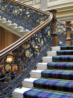Beautiful staircase at The Royal Highland Hotel Inverness, Scotland.I put tartan on my stairs. The Places Youll Go, Places To Go, Inverness Scotland, Highlands Scotland, Inverness Cape, Scotland Castles, Skye Scotland, Scottish Castles, Stairway To Heaven