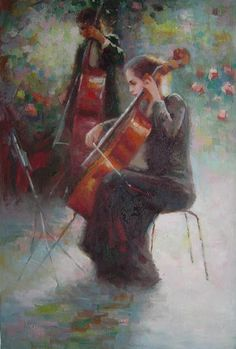 Two Young Girls Playing Cello and String Bass Portraits,Woman Impressionism Oil Painting  36 x 24 inches