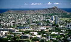 View of Manoa Valley (foreground), Kaimuki and Diamond Head from Mount Tantalus.  Honolulu, Hawaii.