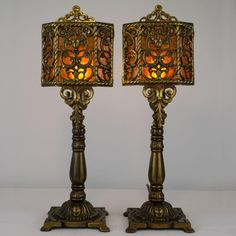 Pair, 1920's Spanish Revival Cast Mixed Metal and Mica Shield Shade Mantle Lamps