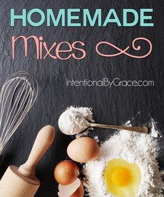 Homemade Mixes {Convenience Doesn't Have to Sacrifice Health Homemade Mixes. Lots of recipes and mixes for a healthier kitchen. It's so much better for you to make it from scratch, and it's not hard to do either. These are great quick and easy ideas. Homemade Dry Mixes, Homemade Spices, Homemade Seasonings, Baking Tips, Baking Recipes, Baking Videos, Do It Yourself Food, Recipe Mix, Meals In A Jar