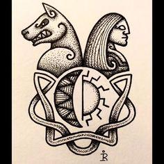 52 minutes later...   #norse #nordic #werewolf #wolfman #wolf #sun #moon #tattoo #viking #art #drawing #irartwork #pointillism