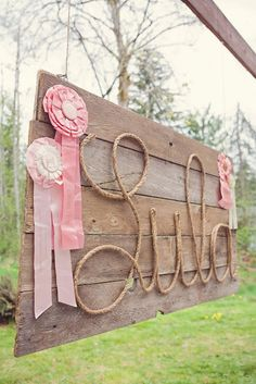 Lula's Vintage Pony Party lasso/rope sign by afreshtakephotography (More here: http://catchmyparty.com/parties/vintage-pony-party)