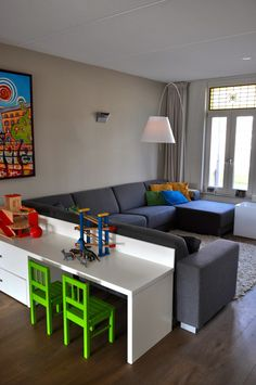 living room with children's corner after STIJLIDEE's interior advice, co… – Home Decoraiton Wohnzimmer mit Kinderecke nach STIJLIDEE's Innenberatung, … – # Room, Home Living Room, Living Room Playroom, Kids Living Rooms, Kid Friendly Living Room, Home, Living Room Bar, Home And Living, Kid Room Decor