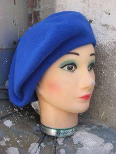 SALECool Vintage 80s French Blue Beret Hat by vintageangel25, $10.50