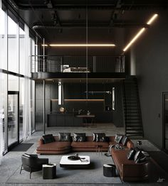 Loft House Design, Loft Interior Design, Dream House Interior, Interior Architecture, Gym Design, Luxury Interior, Industrial Interior Design, Industrial House, Industrial Loft Apartment