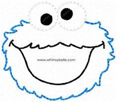 Cookie Monster Hairbow Feltie In the hoop Feltie Machine Embroidery Felt Design.
