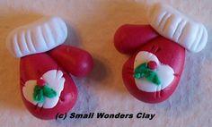 Handmade Polymer clay Christmas mitten