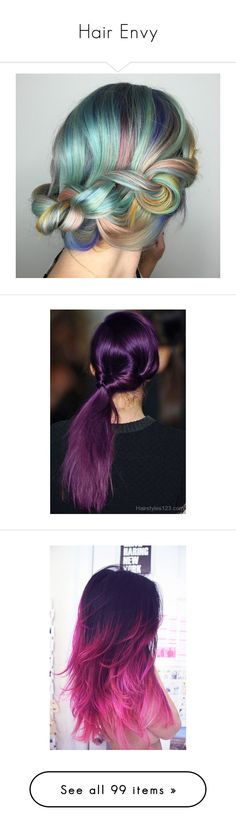 """""""Hair Envy"""" by mrseclipse ❤ liked on Polyvore featuring hair, beauty, beauty products, haircare, hair styling tools, hairstyles, hair styles, peinados, people and deborah ann woll"""