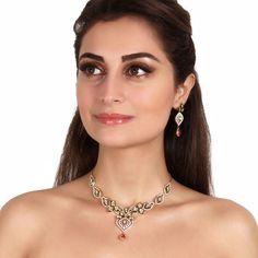 Zircon Necklace A421 #Kushals #Jewellery #Fashion #Indian #Jewellery #Necklace #Earrings #Designer #Fashion #choker #chain #Kundan