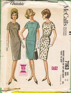 McCall's 7163, c. 1963. Dress or top with unmounted short sleeves, and slim three-gore skirt. Dress or top has away-from-neck collar, front neck opening, part way zipper in center back seam. Tie belt is optional for dress. Dart fitted skirt has left side zipper. Dress or skirt has back pleat and may be lined.